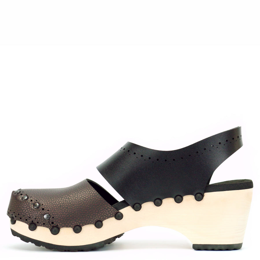Black and Brown Mid Slingback Clogs with Wooden Heel