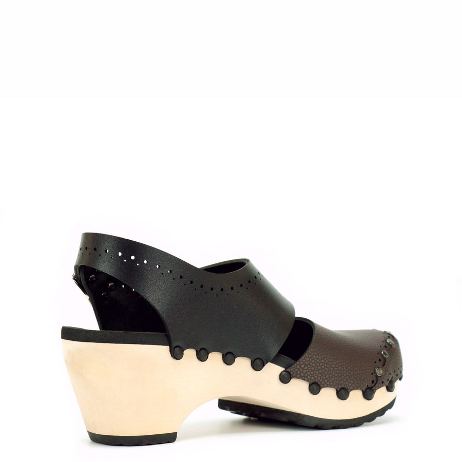 Mid Heel Slingback Clogs with Brown and Black Vegan Leather Upper