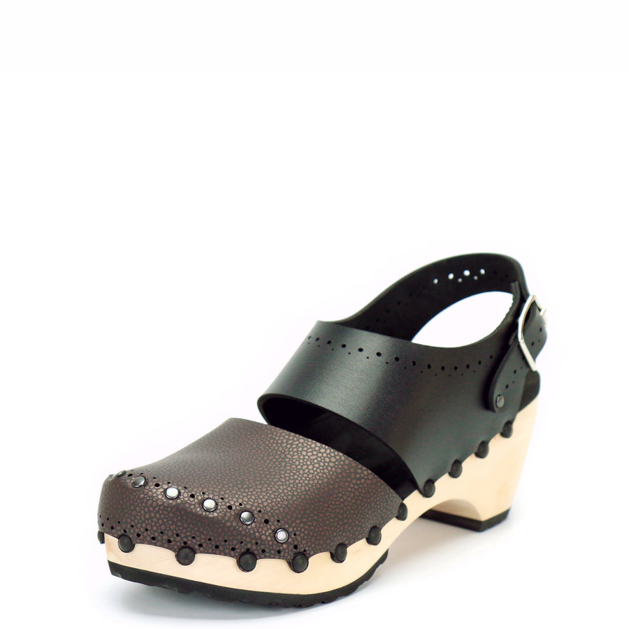 Handmade Espresso and Black Vegan Leather Slingback Clogs