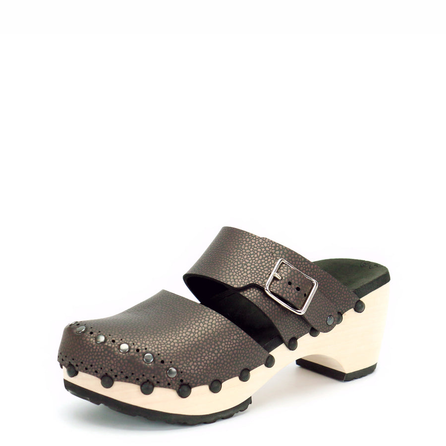 Mid Clog Closed Toe Mule in Espresso - Mohop