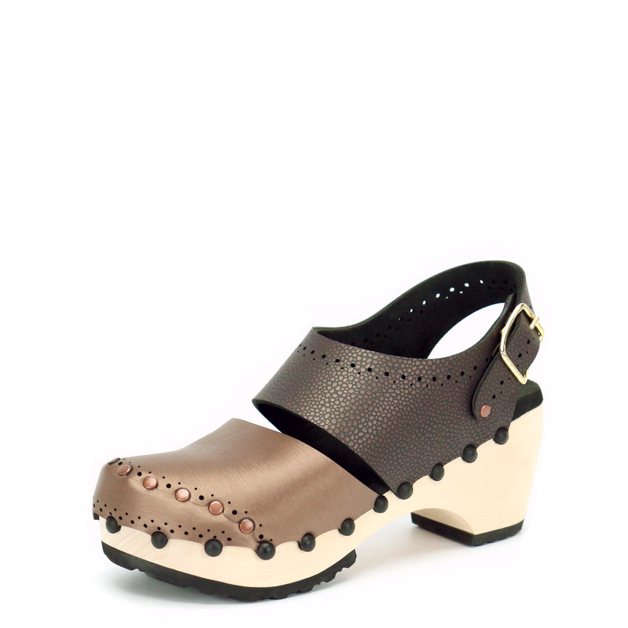 Mid Clog Closed Toe Slingback in Mocha and Espresso - Mohop