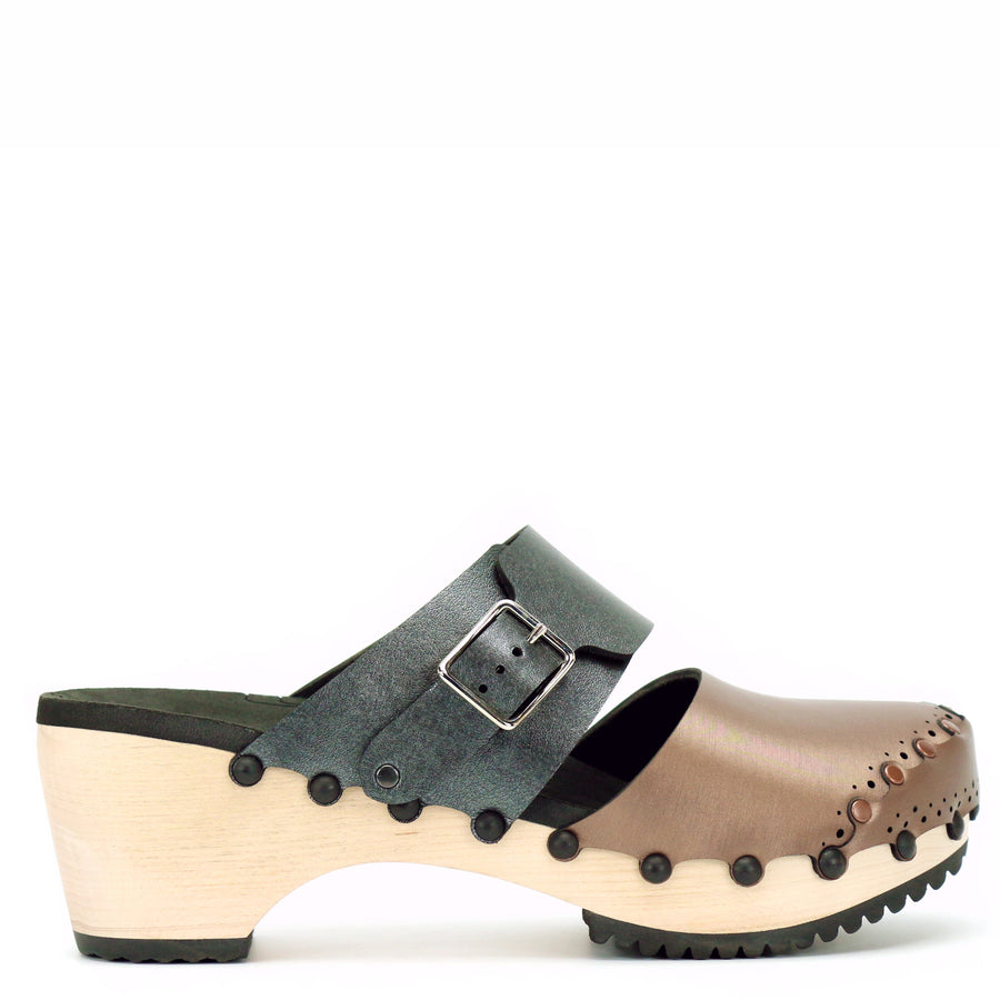 Mid Clog Closed Toe Mule in Mocha and Slate - Mohop
