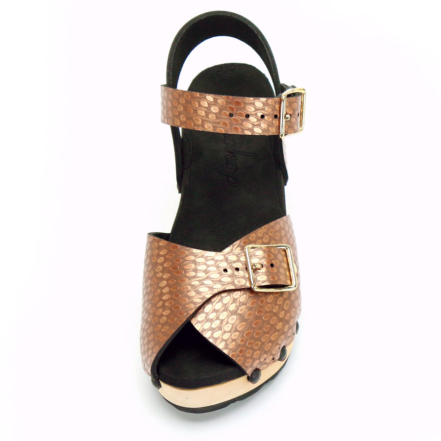 Copper peep toe ankle clogs