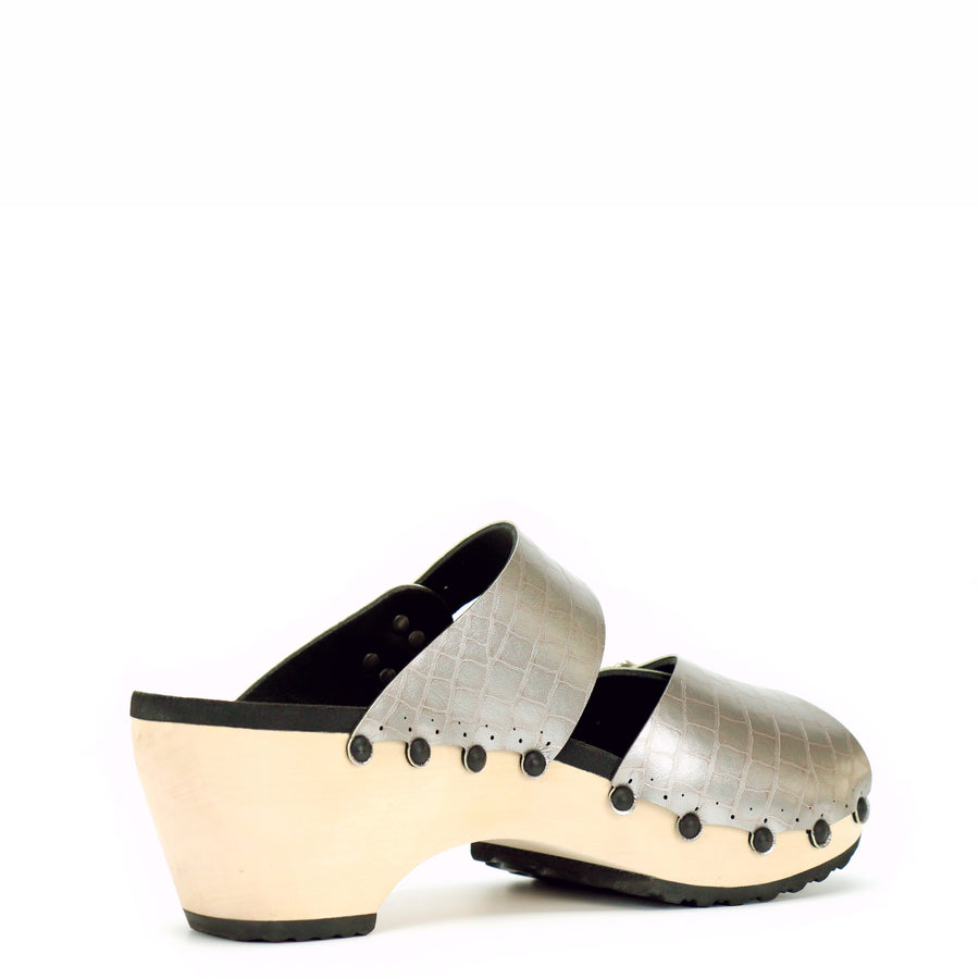 Mid Croc Peep Toe Mules with Wooden Heel