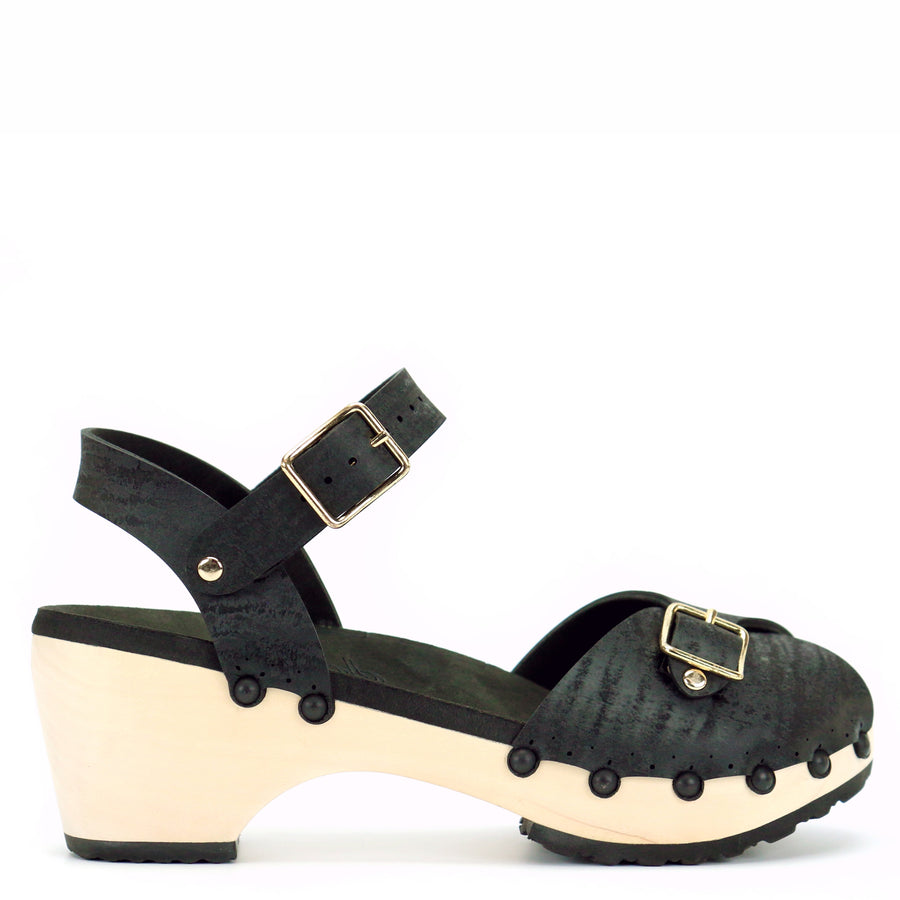 Mid Peep Toe Ankle Clogs in Midnight