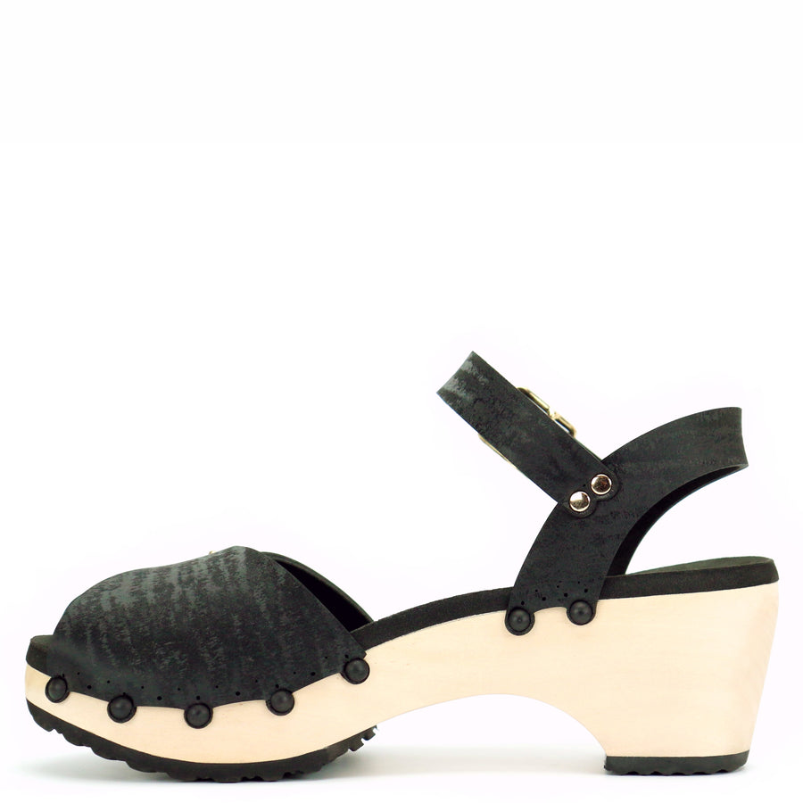 Mid Clog Peep Toe Ankle in Midnight - Mohop