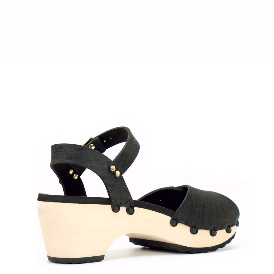 Mid Heel Ankle Clogs with Black Vegan Leather