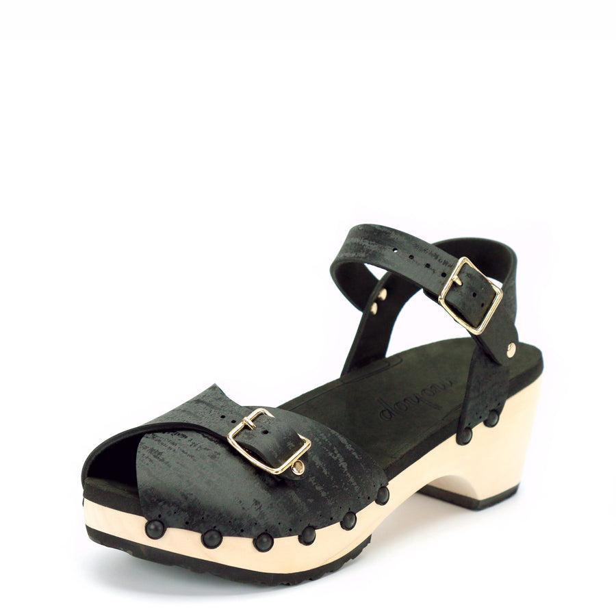 Black Mid Peep Toe Clogs with Ankle Strap