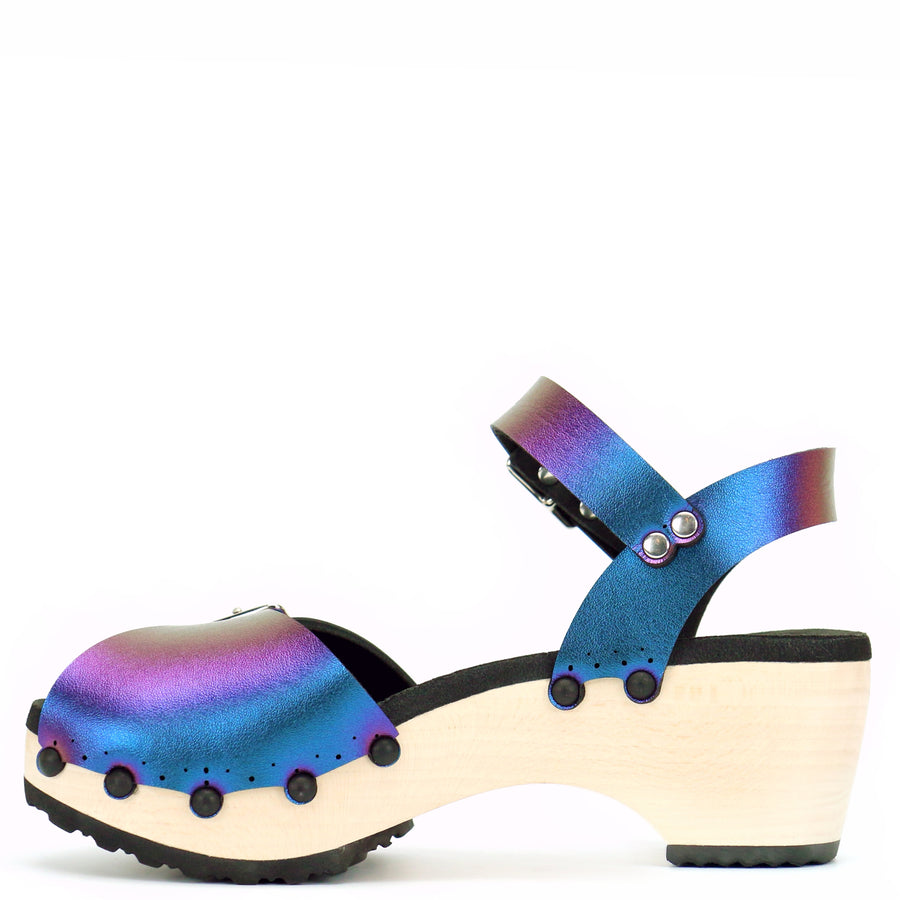 Mid Clog Peep Toe Ankle in Peacock - Mohop