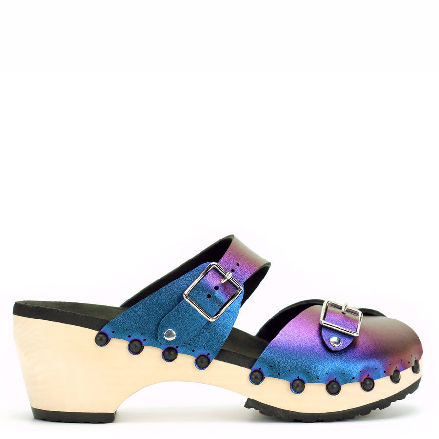 Mid Clog Peep Toe Mule in Peacock