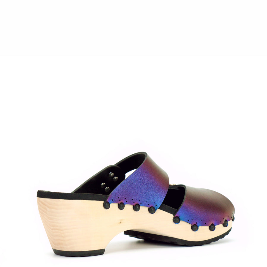 Blue Iridescent Peep Toe Mules