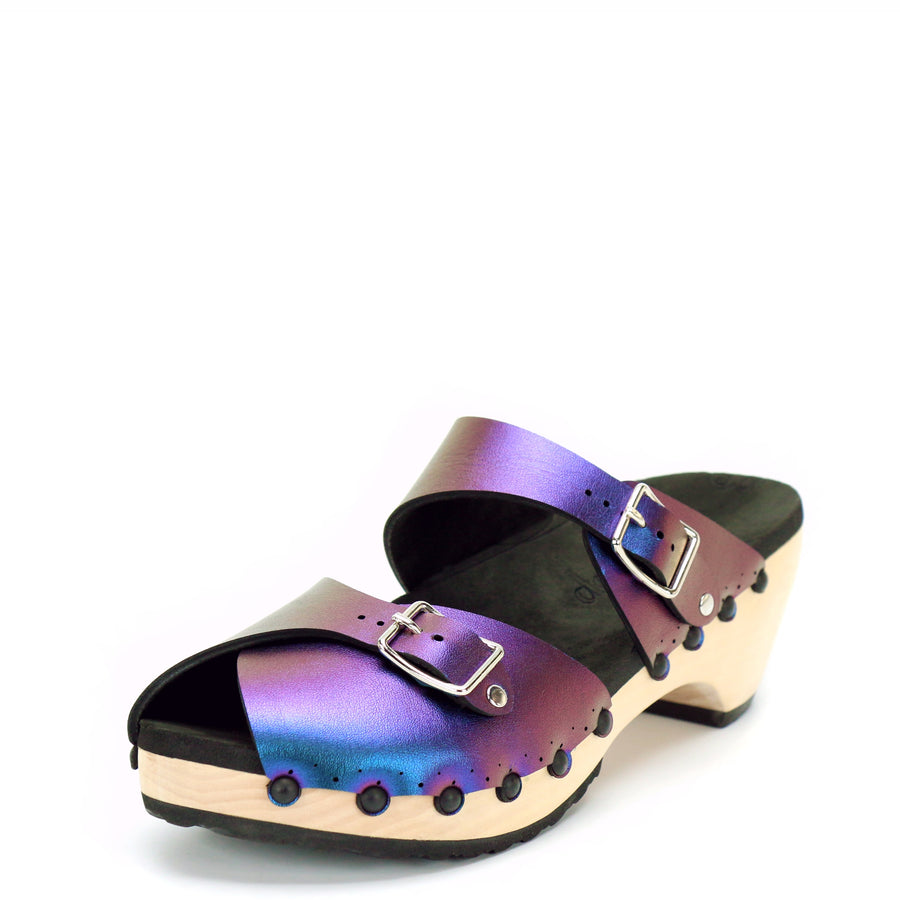 Peacock Iridescent Peep Toe Mid Mule Clogs
