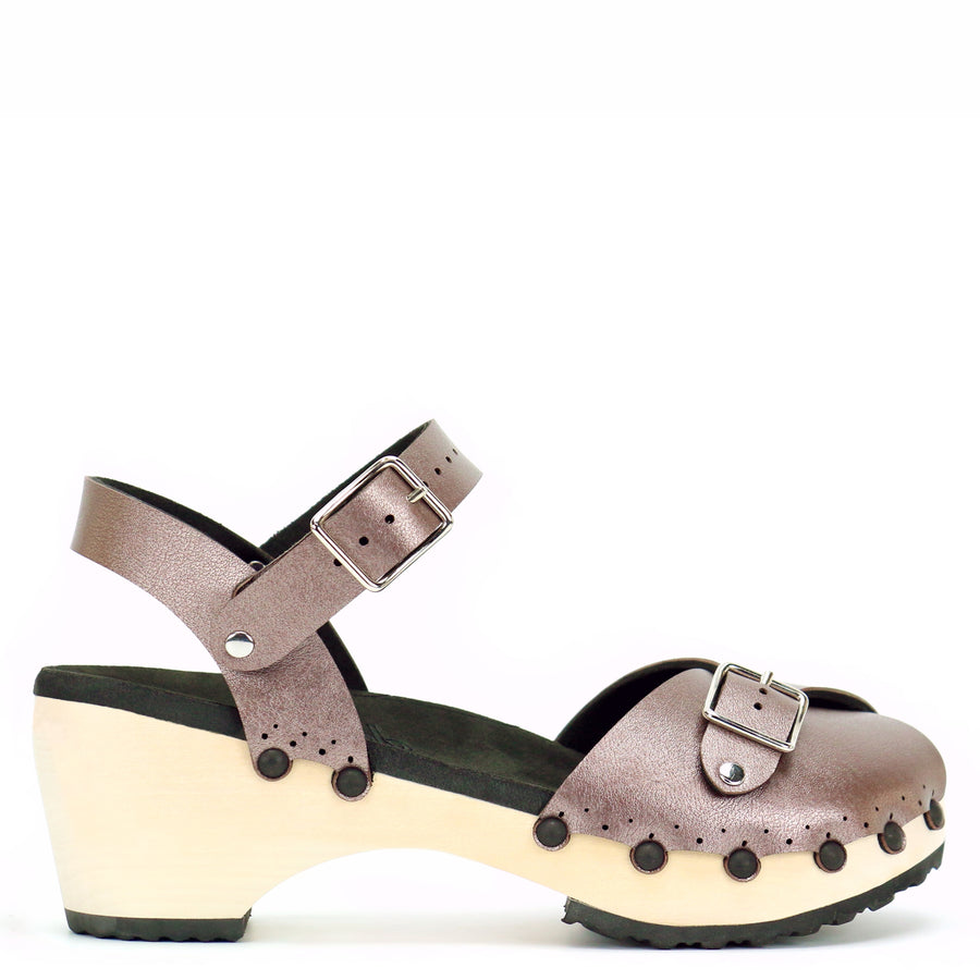 Rose Gold Mid Peep Toe Ankle Clogs
