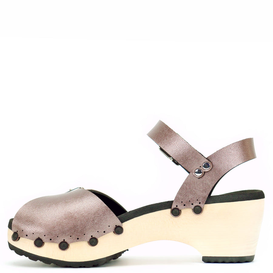 Mid Heel Peep Toe Ankle Clogs in Rose Gold