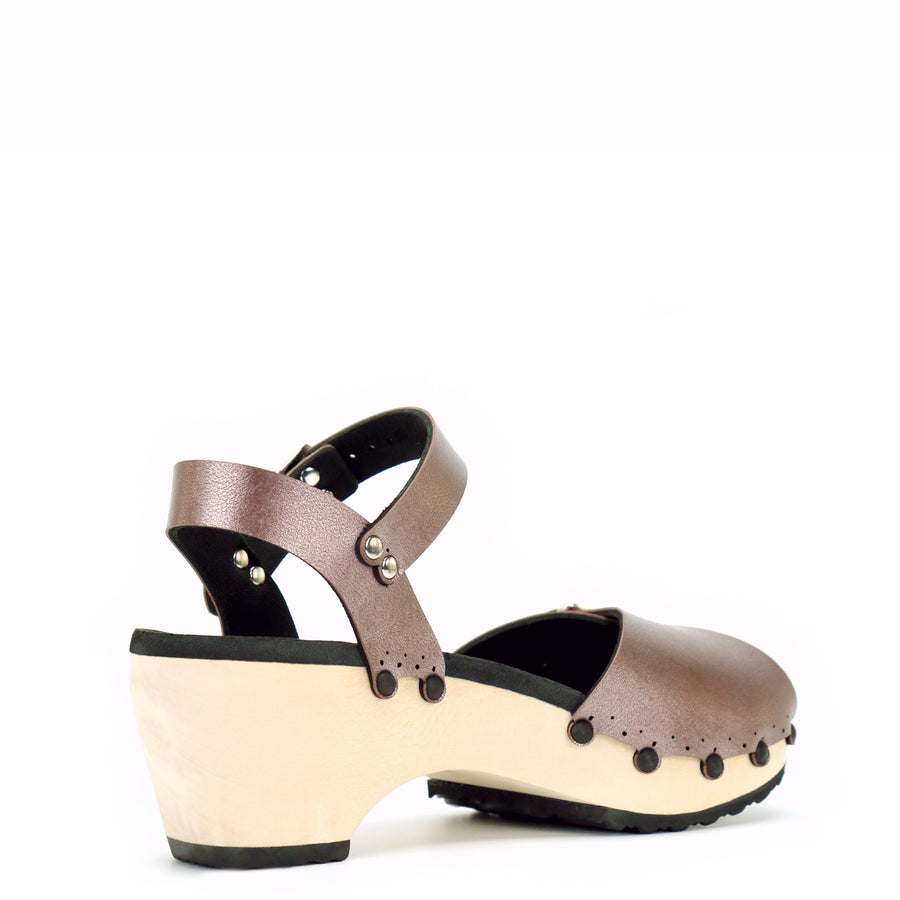 Mid Clog Peep Toe Ankle in Rose Gold - Mohop