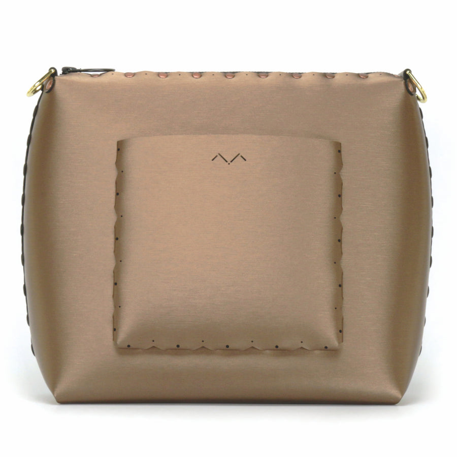 Rear view of large mocha crossbody bag with outside pocket
