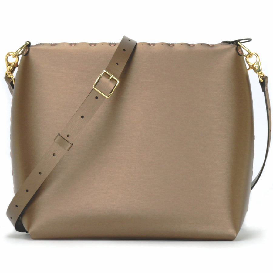 Large mocha crossbody bag with strap