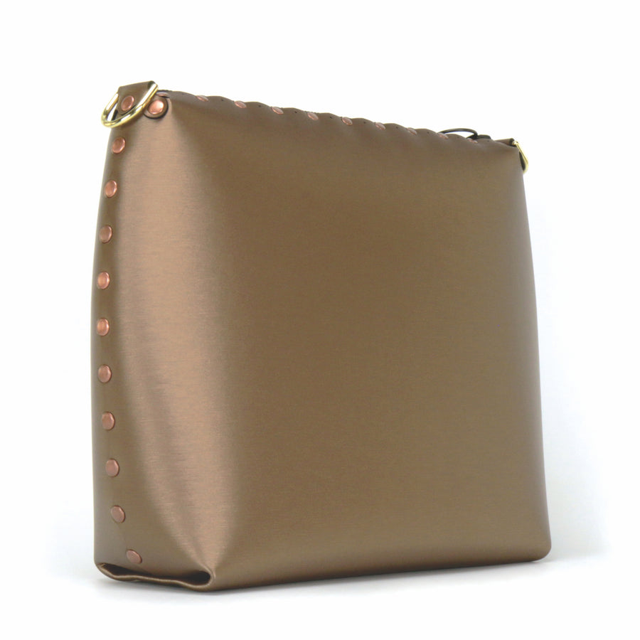 Rear front view of mocha large crossbody bag