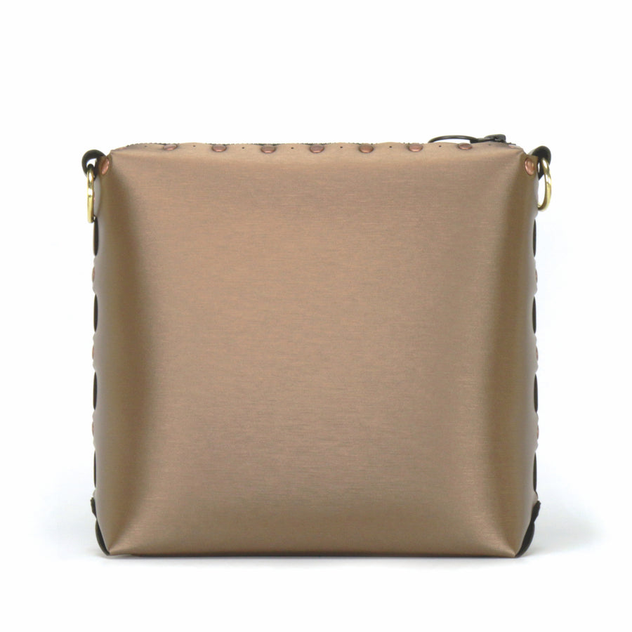 Front view of mocha medium crossbody bag without strap
