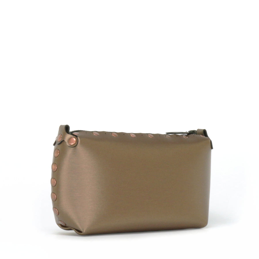 Side front view of mocha mini bag