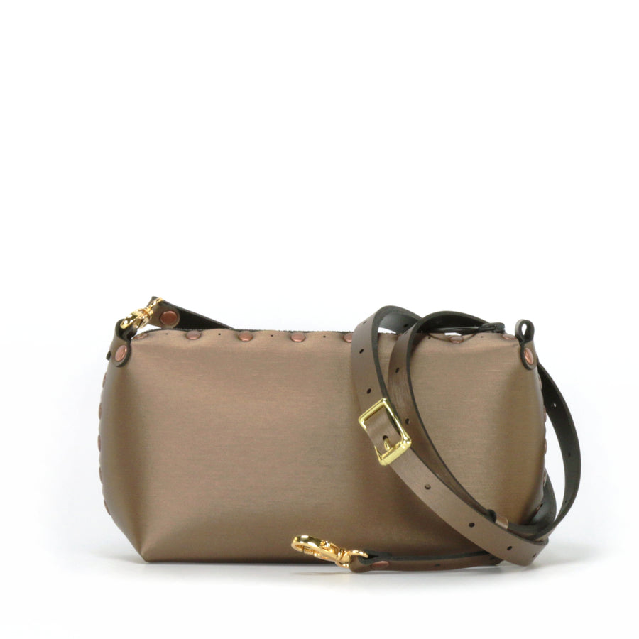 Mocha mini bag shown with optional crossbody strap