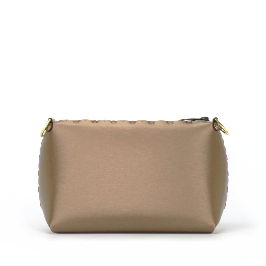Front view of mocha small crossbody bag without strap