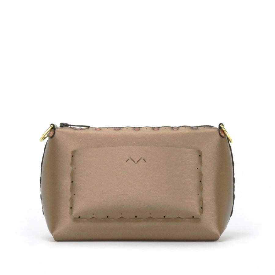 Rear view of mocha small crossbody bag without strap