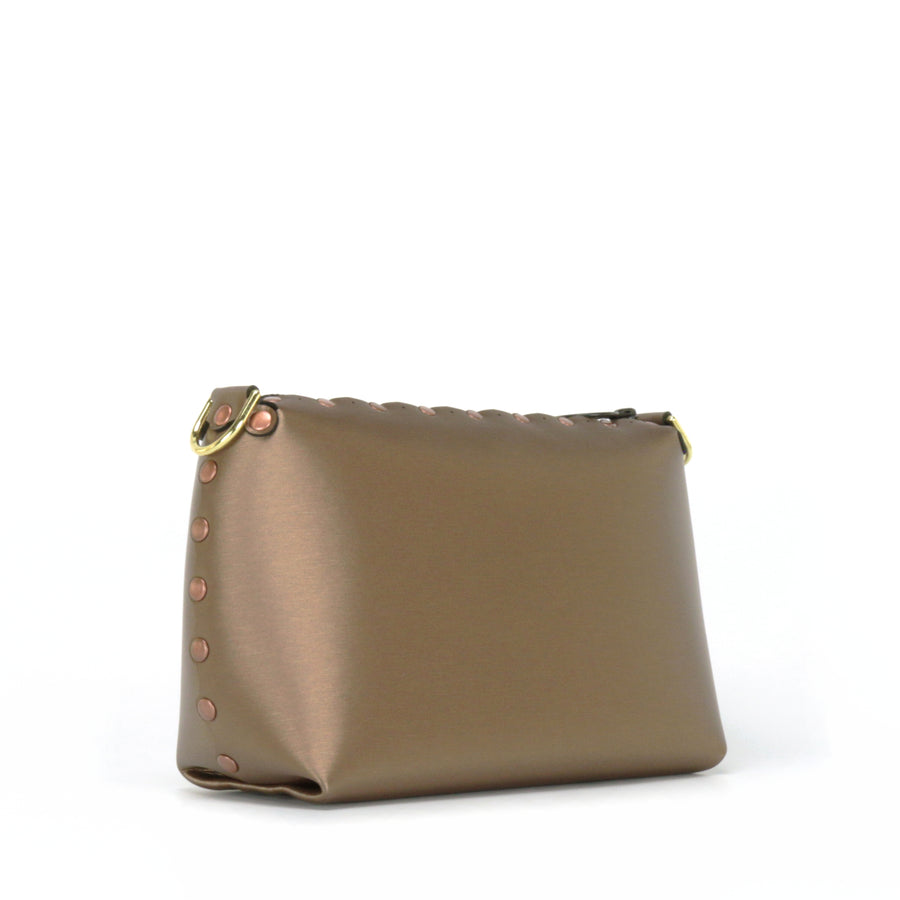 Side front view of mocha small crossbody bag