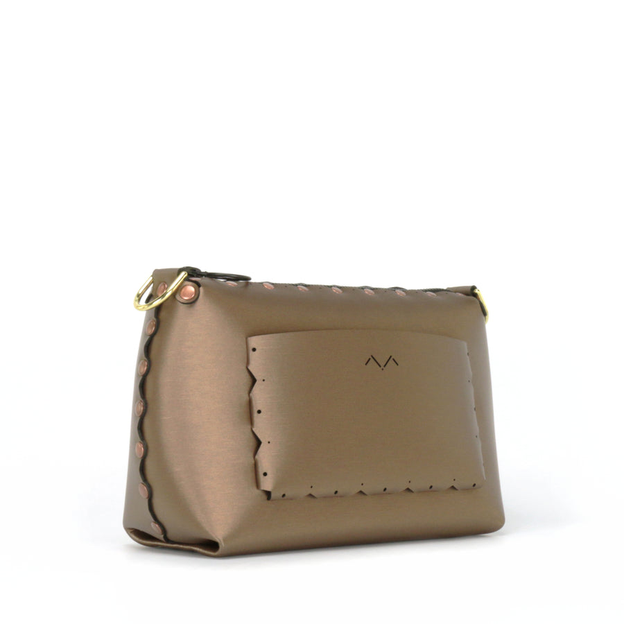 Rear side view of mocha small crossbody bag