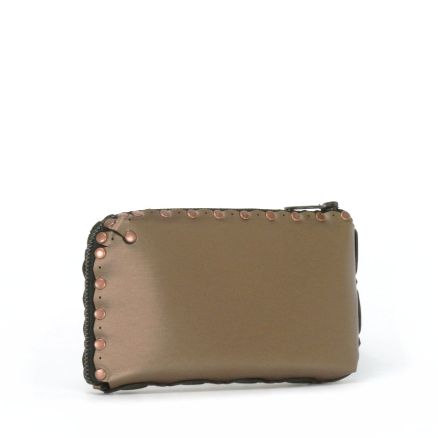Side view of mocha wallet bag showing wrap around zipper