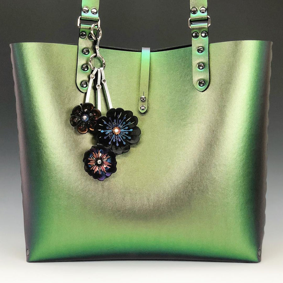 Emerald iridescent tote bag with flower purse charm