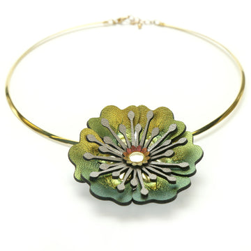 Gold Iridescent Flower Necklace