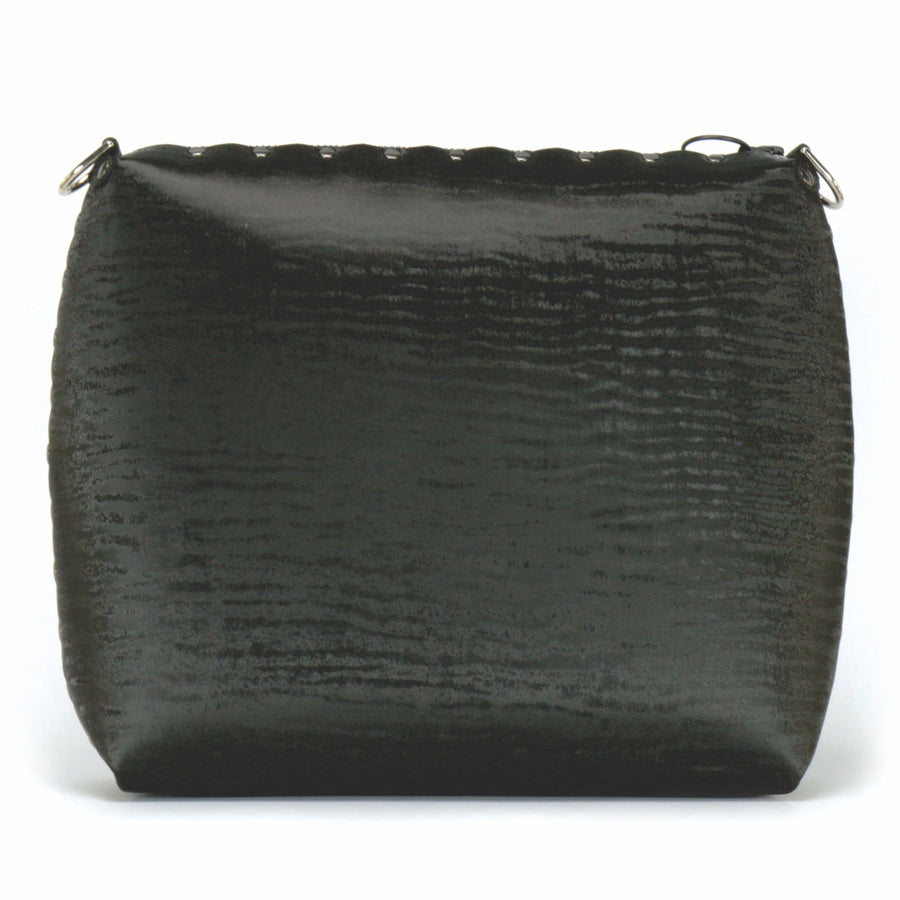 Front view of large onyx crossbody bag without strap