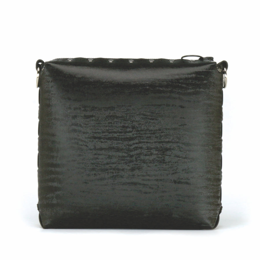 Front view of onyx medium crossbody bag without strap