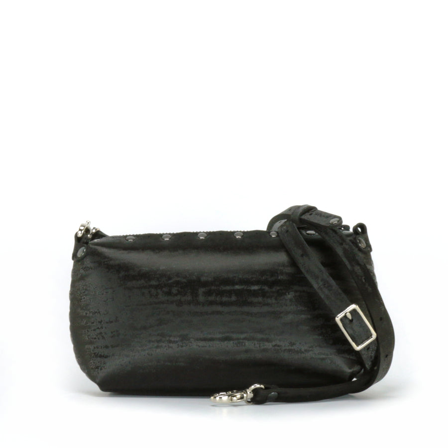 Onyx mini bag shown with optional crossbody strap
