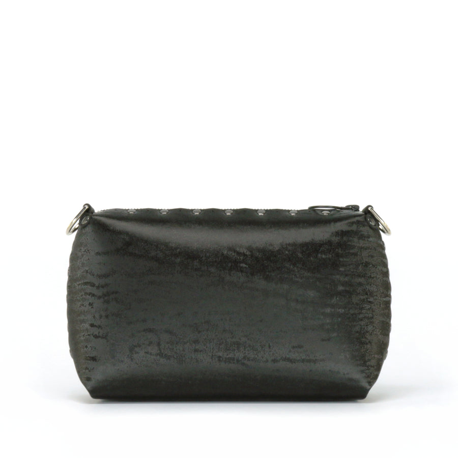 Front view of onyx small crossbody bag without strap