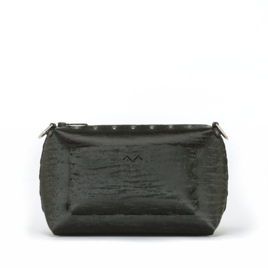 Rear view of onyx small crossbody bag