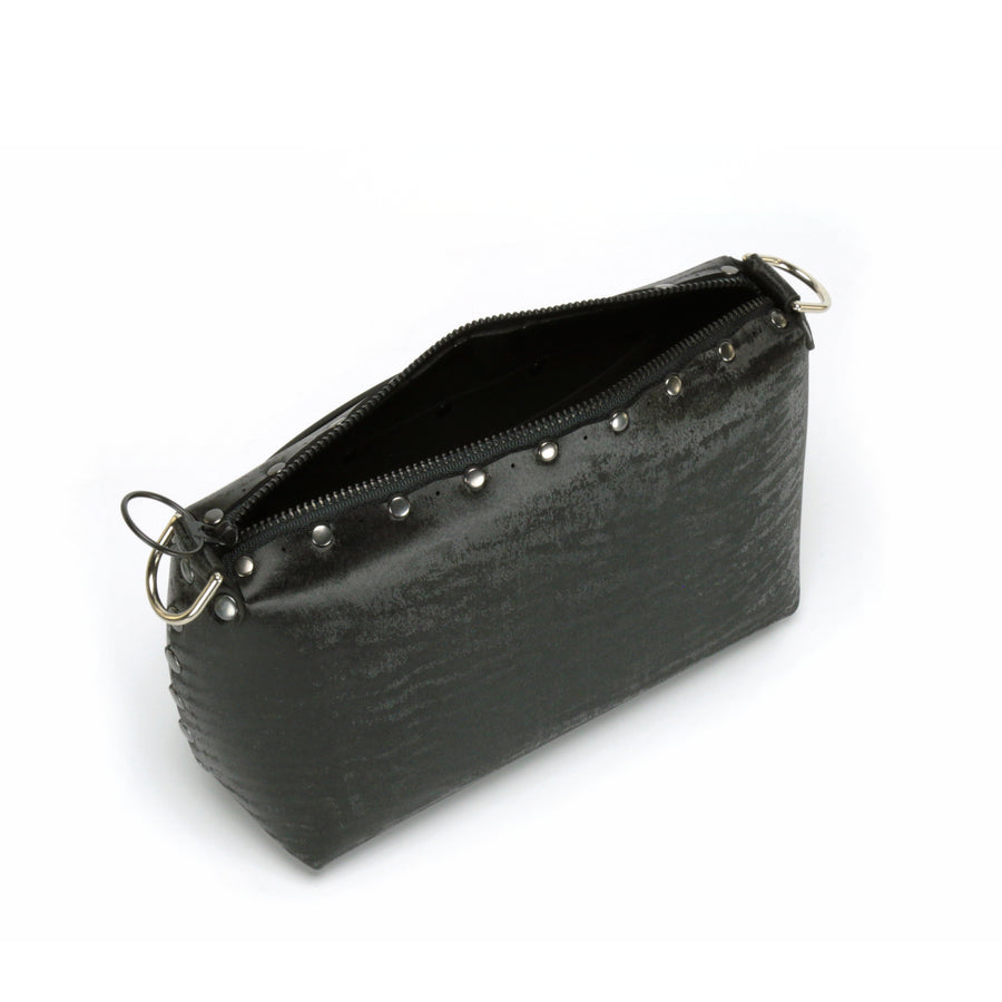 Top view of zipper in onyx small crossbody bag