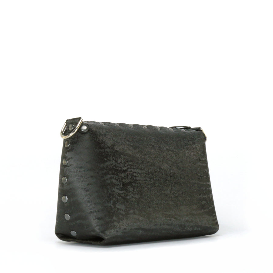 Side front view of onyx small crossbody bag