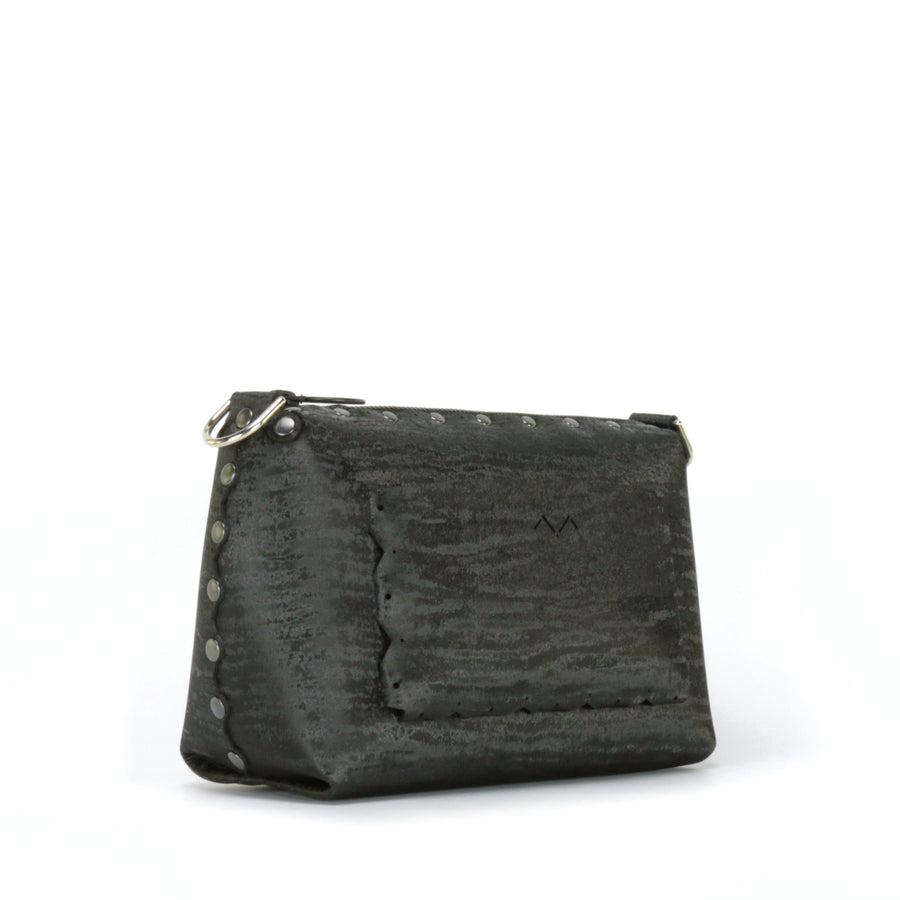 Side rear view of onyx small crossbody bag