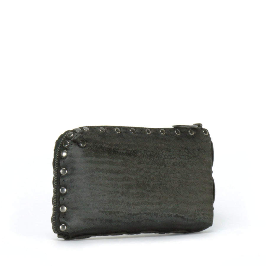 Side view of onyx wallet bag showing wrap around zipper