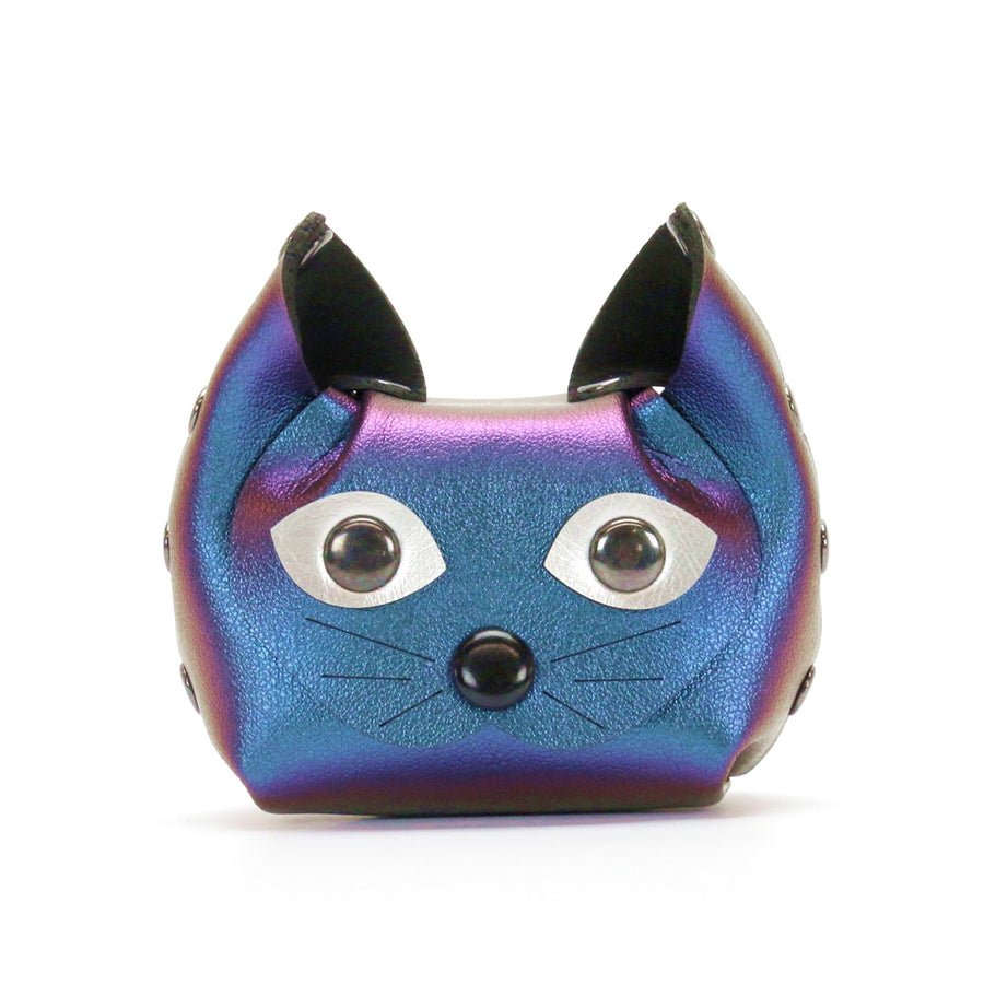 Blue Iridescent Cat Coin Purse made from vegan leather