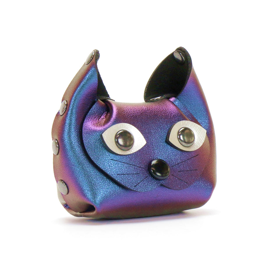 Blue Iridescent Cat Coin Purse and earbud case by Mohop