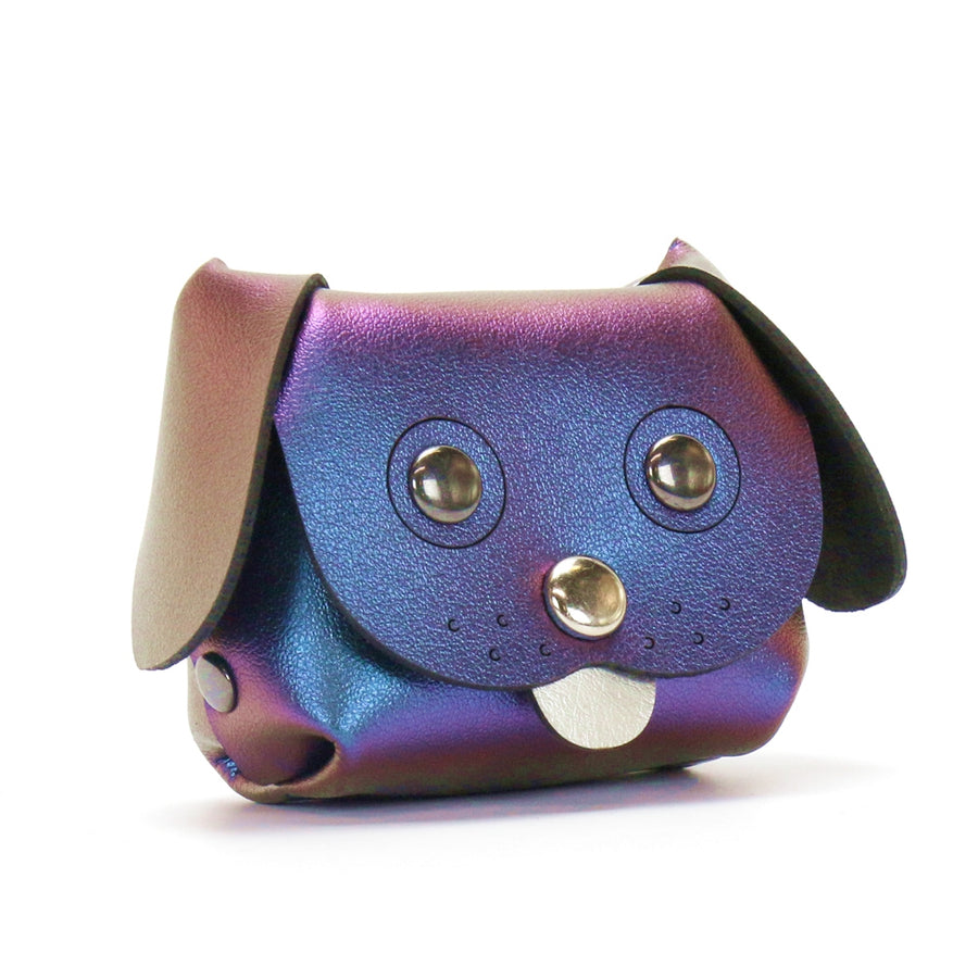 Dog Coin purse made from blue iridescent vegan leather by Mohop