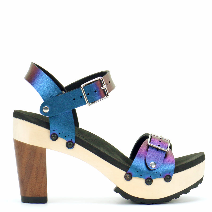 High Heel Buckle Toe Ankle in Peacock - Mohop