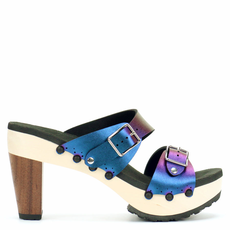 High Heel Buckle Toe Mule in Peacock - Mohop
