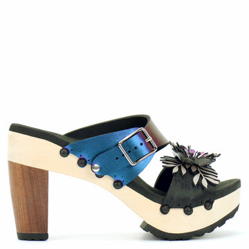 High Heel Flower Toe Mule in Midnight and Peacock