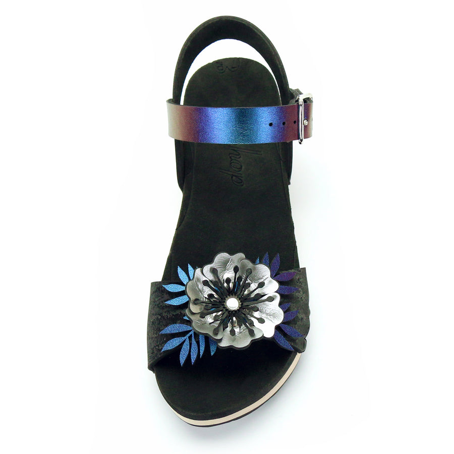 Low Clog Flower Toe Ankle in Midnight and Peacock - Mohop