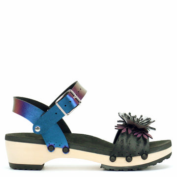 Low Clog with Blue Iridescent Ankle Strap and Black Flower Toe