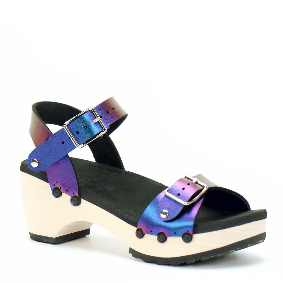 Mid Clog with Blue Iridescent Ankle Strap and Buckle Toe